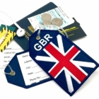 GBR United Kingdom England Flag airline Real Luggage Style tag with back slot for ID Flight Attendant Cabin Crew Cockpit Pilot Crew Authentic Equipment