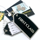 First Class Silver threads airline Real Luggage Style tag with back slot for ID Flight Attendant Cabin Crew Cockpit Pilot Crew Authentic Equipment