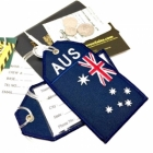 AUS Australia flag airline Real Luggage Style tag with back slot for ID Flight Attendant Cabin Crew Cockpit Pilot Crew Authentic Equipment