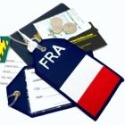 FRA France flag airline Real Luggage Style tag with back slot for ID Flight Attendant Cabin Crew Cockpit Pilot Crew Authentic Equipment