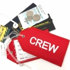 CREW red airline Real Luggage Style tag with back slot for ID Flight Attendant Cabin Crew Cockpit Pilot Crew Authentic Equipment
