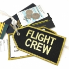 FLIGHT CREW gold thread airline Real Luggage Style tag with back slot for ID Flight Attendant Cabin Crew Cockpit Pilot Crew Authentic Equipment