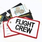 FLIGHT CREW white black airline Real Luggage Style tag with back slot for ID Flight Attendant Cabin Crew Cockpit Pilot Crew Authentic Equipment