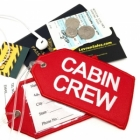 CABIN CREW white red airline Real Luggage Style tag with back slot for ID Flight Attendant Cabin Crew Cockpit Pilot Crew Authentic Equipment